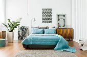 Interior of cozy bedroom in modern design poster