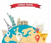 World adventure travel. Relaxation journey, leisure rest tourism, statue liberty, eiffel tower, colosseum, trip global tour. Travel world, globe world map, around the world, globe travel, world tou poster