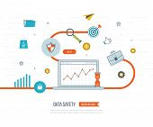 Data protection and safe work. Business protection. Flat shield icon. Data safety. Investment security. Investment growth. Investment management. Strategy for successful business. Color line icons poster