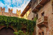 Patio and balcony of Romeo and Juliet house, Verona, Italy poster