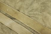 Weathered Faded Military Army Khaki Camouflage With Belt. Horizontal Background Texture Close Up Top View poster