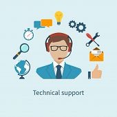 Technical support. Operator call center and services icons. Vector illustration. poster