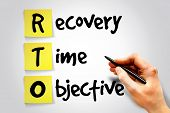 Recovery Time Objective (RTO) sticky note business concept acronym poster