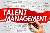 Talent Management word cloud business concept presentation background poster