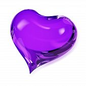 Big opaque heart in violet colors on white poster