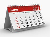 2012 year calendar. June. Isolated 3D image poster
