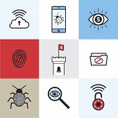 cyber security icon set showing fingerprint technology wifi security file access bug virus locked smartphone poster