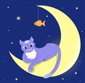 The cat lies on a half moon. Vector illustration. poster