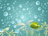 illustration of an underwater scene with a yellow fish and water bubbles poster