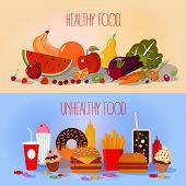 Healthy Food and Unhealthy Fast Food. Fruits and Vegetables or Fast Food and Sweets. Vector illustration in flat style poster