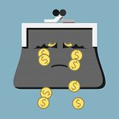 Sad crying tearful purse character losing money with its tears. Dollar coins falling through holes in torn wallet. Costs expenses losses poverty concept. EPS 8 vector illustration no transparency poster