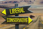 Liberal - Conservative signpost in a desert road on background poster
