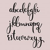 Handwritten brush style modern calligraphy cursive font. Calligraphy alphabet. Cute calligraphy letters. For postcard or poster decorative graphic design. Isolated letter elements. Minimum anchors. poster