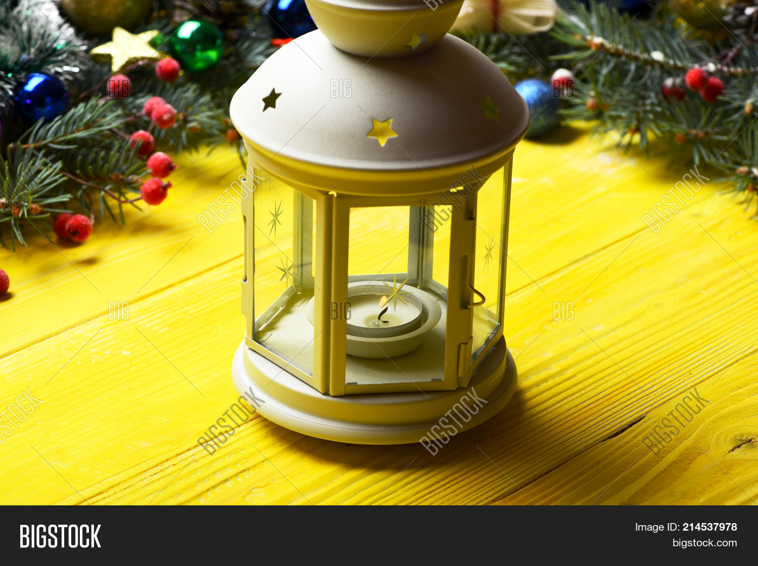 winter time and new year card lantern in romantic white