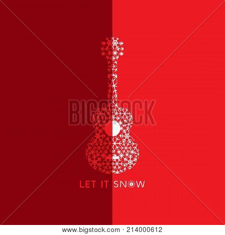 Let it snow. Poster with doodle acoustic guitar silhouette. Vintage music icon. Musical instrument logo from snowflakes. Template for winter season holiday event greeting card. Vector illustration