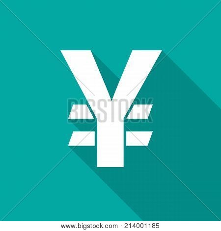 Japanese yen icon with long shadow. Flat design style. Japanese yen simple silhouette. Modern minimalist icon in stylish colors. Web site page and mobile app design vector element.