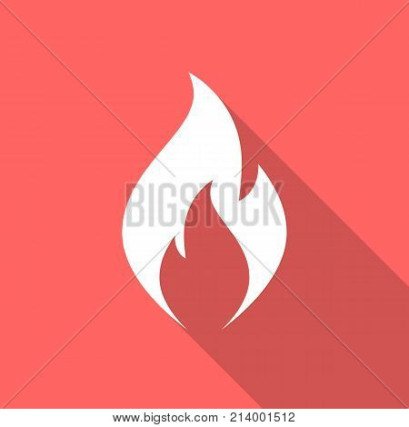 Fire flame icon with long shadow. Flat design style. Fire flame simple silhouette. Modern minimalist icon in stylish colors. Web site page and mobile app design vector element.