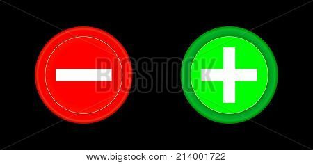 Plus and minus red and green circle 3D button. Add cancel or the plus and minus signs on buttons or circles icon isolated on black background. Vector illustration
