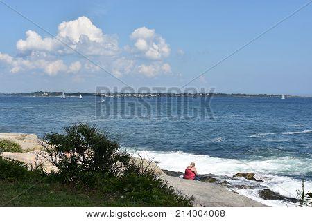 View from Jamestown in Rhode Island, USA