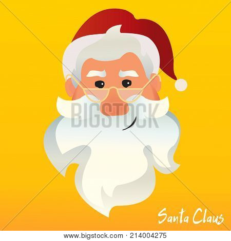 Santa Claus vector happy face. Santa Claus funny cartoon sticker character. Greeting christmas card. -stock vector