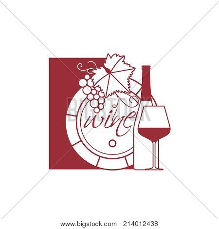 A barrel of wine, a bottle, a glass, a bunch of grapes with a leaf. Vector illustration for restaurant menu, wine tasting, wine list.