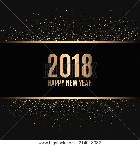 Happy new year 2018. Gold glitter New Year. Gold background for flyer, banner, web, header, poster, sign. Abstract background with frame for text, quote.