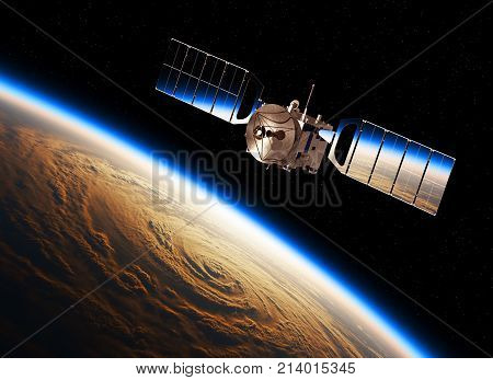 Reflection Of Earth In Solar Panels Of A Space Satellite. 3D Illustration.