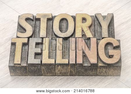 storytelling word abstract in vintage letterpress wood type printing blocks with charcoal digital painting effect