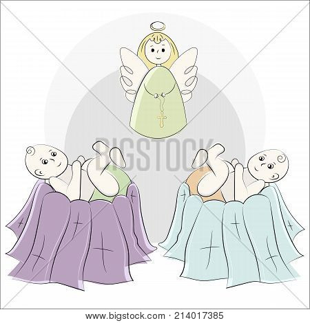 Baptism of the child in the church, christening. Angels with wings and a halo. Vector set of isolated elements, drawn by hand. Used for postcards, congratulations, wallpapers, prints, backgrounds.