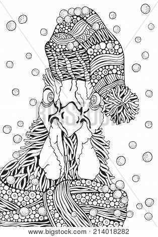 Hand-drawn vector rooster. Black and white. Doodle zentangle style. Symbol of 2017 New Year. Cockerel rooster bird. Chinese new year holiday. Coloring book page for adult.