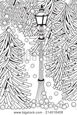 Winter. Adult Coloring Book Page.