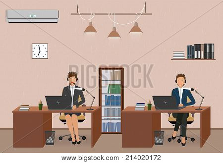 Call center and customer service office with women employee. Workplace interior and helpline operators with headphone. Vector illustration.