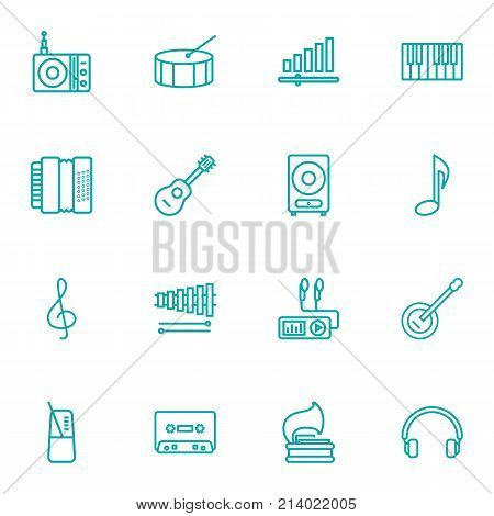 Collection Of Station, Turntable, Wooden Block And Other Elements.  Set Of 16 Song Outline Icons Set.