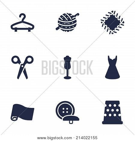 Collection Of Evening Gown, Rack, Cutter And Other Elements.  Set Of 9 Stitch Icons Set.
