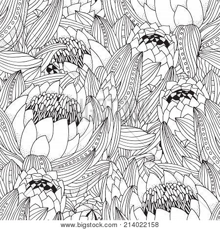 Coloring Book Page For Adult And Children. Seamless Pattern