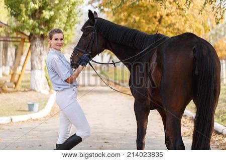 A young female rider in riding equipment stands near a beautiful dark horse and holds a harness. Outdoors.