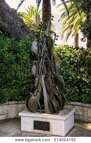 Monaco-ville, Monaco - July 11: Sculpture Melodie By Arman In Saint Martin Garden On July 11, 2015 I