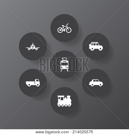 Collection Of Streetcar, Hatchback, Lorry And Other Elements.  Set Of 7 Transport Icons Set.
