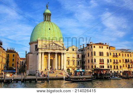 Venice, Italy - June 21: San Simeone Piccolo Church Along Grand Canal On June 21, 2015 In Venice, It