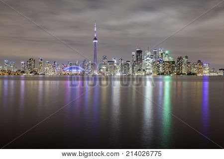 Skyline view of Toronto downtown at night. Province of Ontario Canada