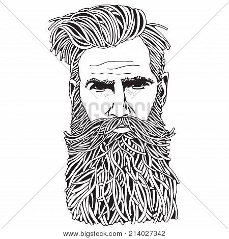 Bearded Hipster Man. Coloring Book