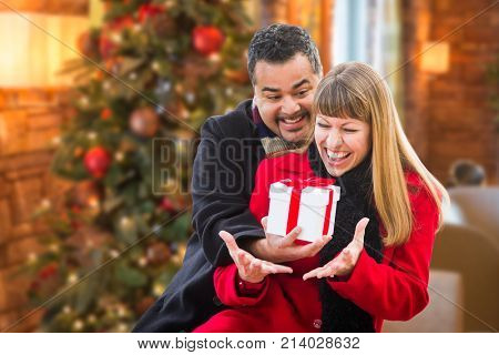 Mixed Race Couple Sharing Christmas In Front of Decorated Tree.
