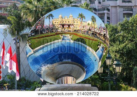Monte Carlo, Monaco - July 11: Sky Mirror Reflecting Monte Carlo Casino On July 11, 2015 In Monaco.