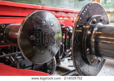Close up of a large buffer of an old train standing in a museum