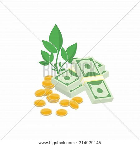 Finance profit increase profit. Compound interest added value. Money grows concept. Plant with cash and coins on white background. Vector