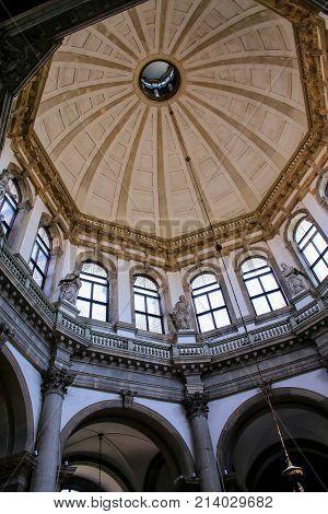 Venice, Italy-june 22: Interior Of Basilica Di Santa Maria Della Salute On Punta Della Dogana On Jun