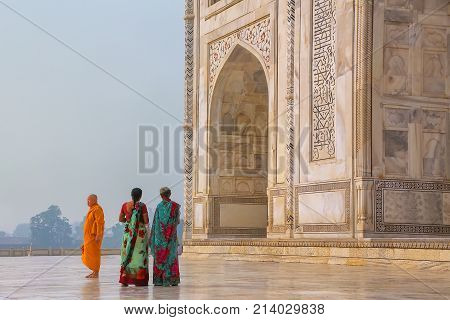 Agra, India - November 9: Unidentified People Stand Outside Taj Mahal On November 9, 2014 In Agra, I