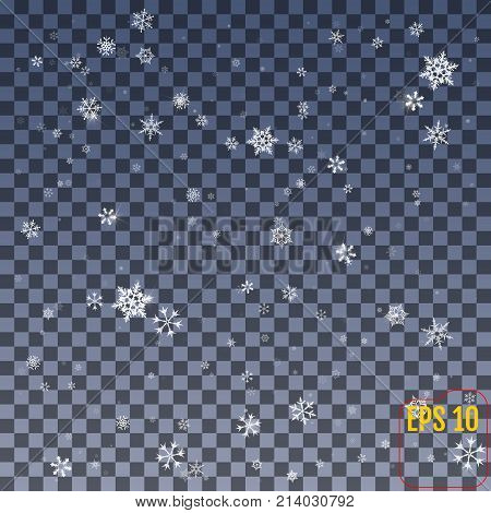 Snowflake Vector. Falling Christmas Snow Fall Isolated. Snowflak