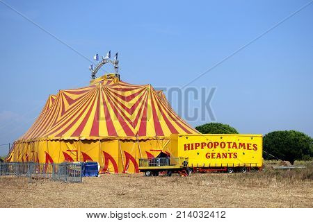 Valras-plage, Herault, France - Aug 23 2017: Colourful Red And Yellow Circus Big Top In France, Plus