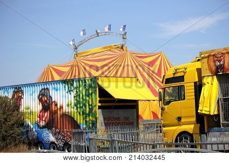 Valras-plage, Herault, France - Aug 23 2017: Trailer Belonging To A French Circus Or